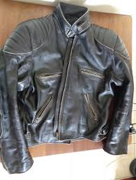 a photograph showing the old style leather jacket from iguana custom and which features a thick