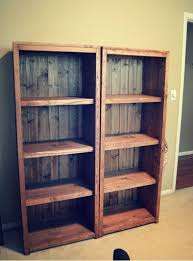 DIY Kentwood Bookcases pallet wood for the back or corrugated tin.either  would be a good choice cute with Tin behind it too!