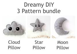 Pillow Sewing Patterns Amazing 48 Easy Sewing Patterns Star Pillow Cloud Pillow Moon Etsy