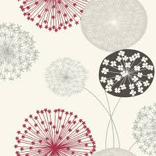 Wallpapering For A Living Room Bq Lucienne Grey Red Floral Wallpaper Departments Diy At Bq