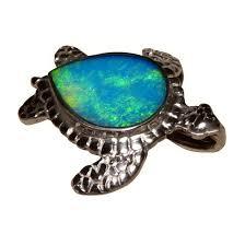 silver turtle opal pendant green stone 925 sterling