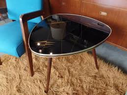 mid century modern guitar pick side table with reverse painted glass top from peg leg vintage of beltsville md attic