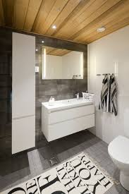 unique area rug and wooden ceiling for scandinavian bathroom ideas with modern white vanity cabinet