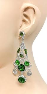 3 25 long green rhinestones statement chandelier earrings