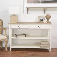white console table with drawer. Dauphine White And Light Brown Storage Console Table With Drawer