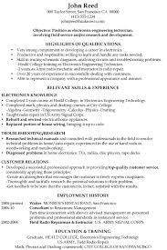 Engineering Skills Resume Resume Sample Electronics Engineering Technician