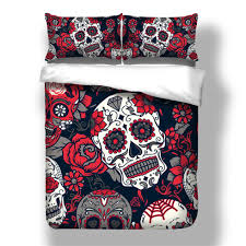 red skull bedding set duvet cover twin queen king size pillow case quilt cover