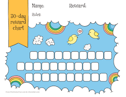 Unicorn Star Chart Rainbow Sky 30 Day Reward Chart For Kids Free Printable