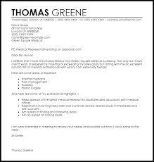 Medical Application Letter Sample Medical Representative Cover Letter Sample Cover Letter Templates
