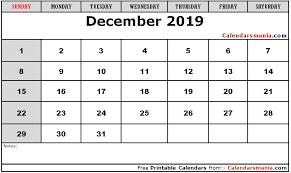 Blank Editable Calendar December 2019 Editable Calendar Blank Template