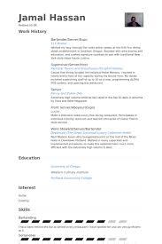 Бармен сервер образцы резюме Visualcv базы данных образцы резюме