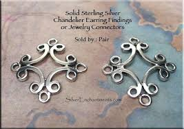 chandelier earring findings sterling silver scroll or jewelry connectors pair 2 making supplies chandelier earring findings