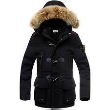 winter 2016 mens clothing fur collar hooded down jacket in black