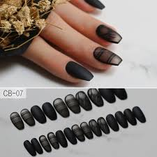 black fashion matte torch ballet fake nails coffin nails natural color line pattern hot with