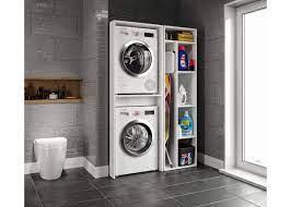 Çamaşır ve Kurutma Makinesi Dolabı, Ütü Masası ve Temizlik Kovası Koyma  Bölmeli Çok Amaçlı MDF Dolap
