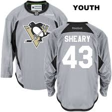 Nhl Practice Jersey Authentic No Penguins Stitched Sheary Gray Reebok 43 Pittsburgh Youth Conor