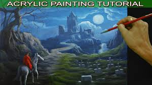 acrylic landscape painting tutorial moon rise over the lady on horse to the castle