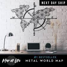 map metal wall art laser cut