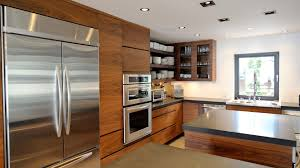 modern kitchen in walnut and stainless