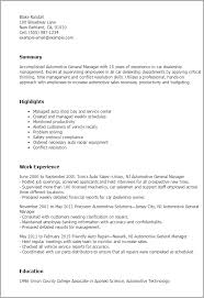 Automotive Service Manager Resume 1 Automotive General Manager Resume Templates Try Them Now Sample