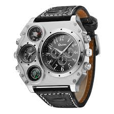 Designer Brand With Compass Logo Us 13 99 50 Off Oulm 1349 Fashion Designer Brand Future Watches Men Oversize Dial Japan Movt Compass Quartz Watch Montre Militaire Homme Grosses In
