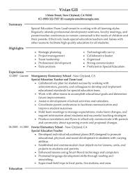 Resumes Special Education Teacher Resume Objective Sample Assistant