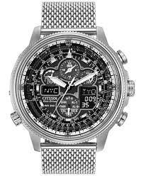 citizen men s chronograph navihawk eco drive stainless steel mesh citizen men s chronograph navihawk eco drive stainless steel mesh bracelet watch 48mm jy8030 83e