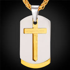 collare lords prayer cross pendants 316l stainless steel dog tag necklaces gold color scripturoe men jewelry p509