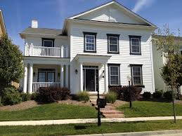 white house exterior paint color dark blue with trim curb
