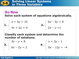 do now solve each system of equations algebraically