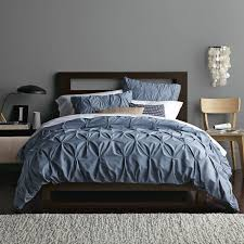 steel blue bedding organic cotton pintuck shams steel blue west elm jaclyn smith blue scroll comforter set highams 100 egyptian cotton plain dyed duvet