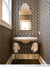 Black and White Graphic Wallpaper Bathroom