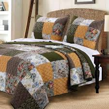 vintage country paisley patchwork gold green cotton quilt shams set french country duvet covers nz french