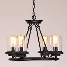 chandeliers pendent light industrial clear milky white glass shade wrought iron