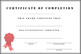 Microsoft Word Certificate Completion Certificate Completion