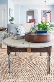 distressed round grey coffee table
