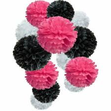 Tissue Paper Pom Poms Flower Balls Details About 12x Black Hot Pink White Tissue Paper Pom Poms Flower Ball Party Hanging Decor