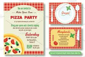 Birthday Invitation Flyer Template Simple Editable Pizza Party Invitation Invitation Templates Creative Market