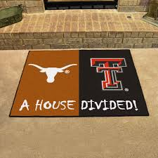ncaa house divided rivalry rug texas longhorns texas tech red raiders