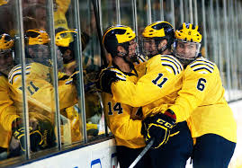 daniel brenner photo blog michigan players kevin lynch zach hyman and brennan serville celebrate after a score in