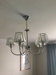 laura ashley capri chrome 5 light chandelier with clear glass shade