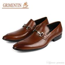 grimentin hot mens genuine leather shoes fashion designer slip on black brown italian formal dress loafers for wedding size 6 11 womens shoes shoes for