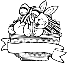 Here S A Bunny In A Basket A Lovely Easter Colouring In Sheet