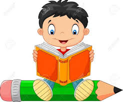 ics clipart boy reading a book pencil and in color