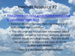 Noaa Sky Watcher Chart Types Of Clouds Technology Performance Task