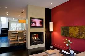 view in gallery contemporary living room with red wall decor