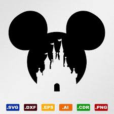 Mickey Mouse Disney Castle Svg Dxf Eps Ai Cdr Vector Files