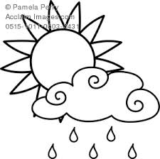 Small Picture Art Image of a Sun With a Rain Cloud Weather Coloring Page