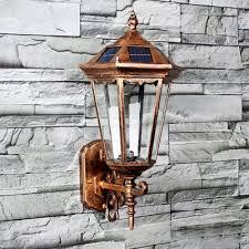 vintage style 17 h light sensor solar powered led outdoor wall lighting