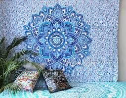 small wall tapestry blue ombre mandala